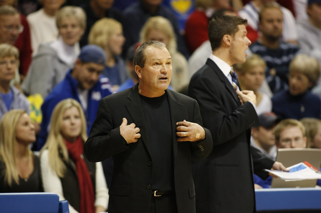 Head coach Monte Towe of the New Orleans Privateers questions a call during action against the the Kansas Jawhawks at Allen Fieldhouse in Lawrence, Kansas on December 29, 2005. Kansas won 73-56.