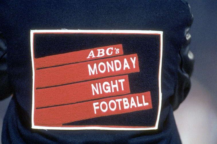 SAN FRANCISCO - DECEMBER 23: Detail view of the ABC Monday Night Football logo on the back of a black and blue letterman jacket as the San Francisco 49ers take on the Chicago Bears at Candlestick Park on December 23, 1991 in San Francisco, California. The 49ers won 52-13