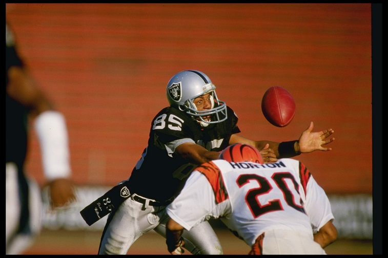17 Nov 1985: Wide receiver Dokie Williams of the Los Angeles Raiders gets covered by Cincinnati Bengals defensive back Ray Horton during a game at the Los Angeles Coliseum in Los Angeles, California. The Raiders won the game, 13-6.