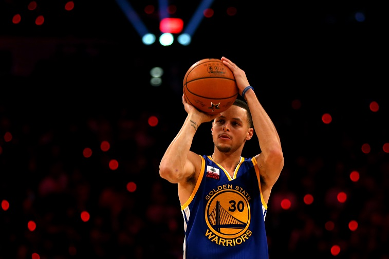 Stephen Curry shoots a three-pointer.