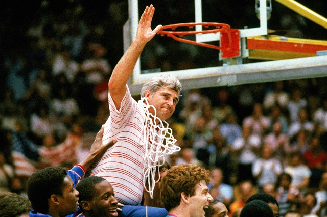 Bobby Knight, one the most hated coaches of all time, is carried off the court by his team