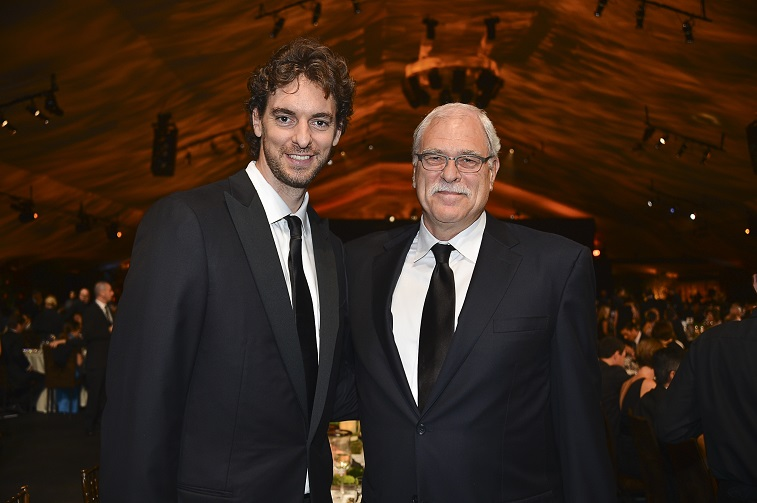 LOS ANGELES, CA - OCTOBER 20: Los Angeles Laker's Pau Gasol and Former NBA coach and player Phil Jackson attend Children's Hospital Los Angeles Gala: Noche de Ninos at L.A. Live Event Deck on October 20, 2012 in Los Angeles, California. (Photo by Frazer Harrison/Getty Images for Children's Hospital Los Angeles)