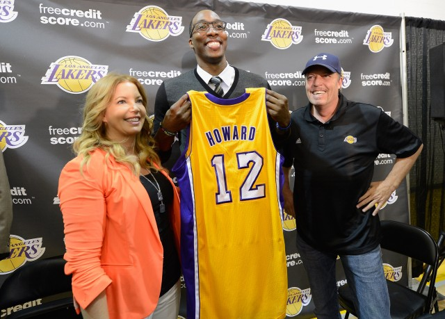 The Buss Siblings with Dwight Howard in 2012. This didn't end well.