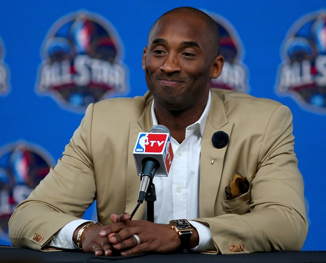Kobe Bryant speaks to the press during a media conference.