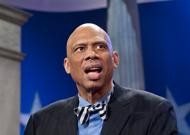 Kris Connor/Getty ImagesWASHINGTON, DC - APRIL 21: Kareem Abdul-Jabbar speaks during a rehearsal before a taping of  Jeopardy! Power Players Week at DAR Constitution Hall on April 21, 2012 in Washington, DC. (Photo by Kris Connor/Getty Images)