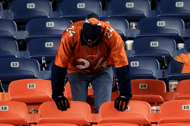 A Denver Broncos fan mourns a loss.