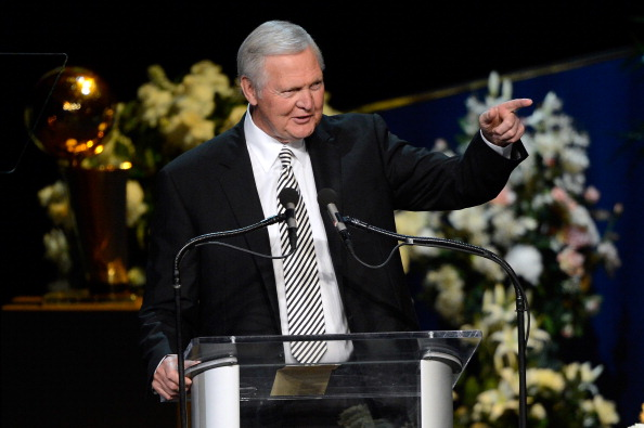 Jerry West addresses the audience at an NBA event.