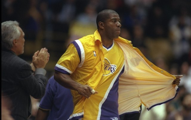 Magic Johnson returns to the court in 1996.