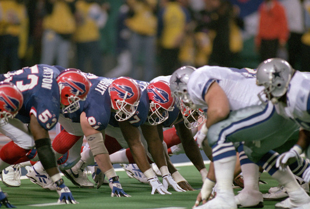 The Buffalo Bills line up against the Dallas Cowboys.