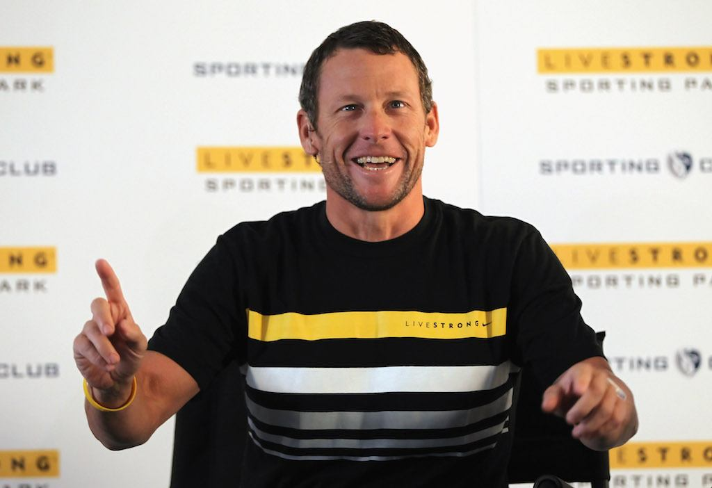 Lance Armstrong speaking at a Livestrong press conference.