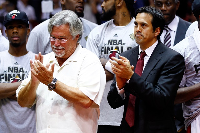 Owner Micky Arison and head coach Erik Spoelstra of the Miami Heat celebrate after the Heat defeat the Boston Celtics