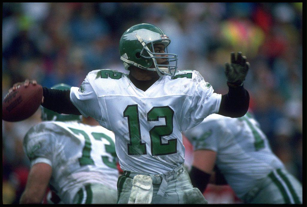 Randall Cunningham looks for a target.