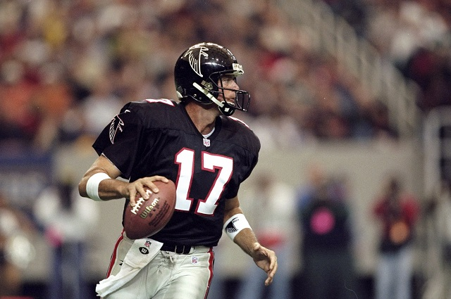 27 Dec 1998: Quarterback Steve DeBerg #17 of the Atlanta Falcons in action during the game against the Miami Dolphins at the Georgia Dome in Atlanta, Georgia. The Falcons defeated the Dolphins 38-16. Mandatory Credit: Andy Lyons /AllsportAndy Lyons/Getty Images
