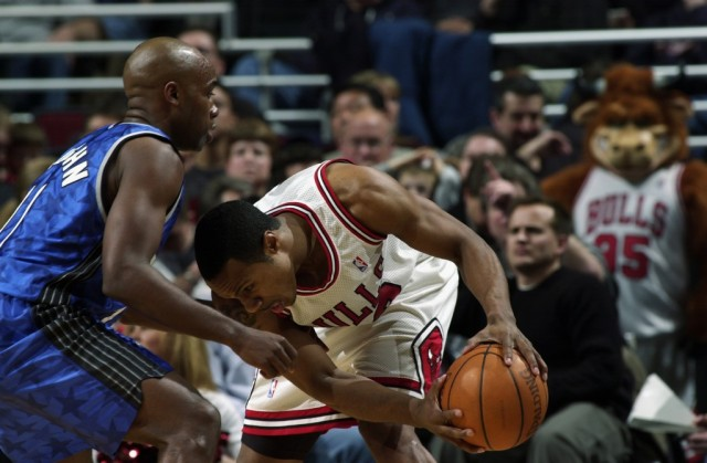 Jay Williams struggles to get past a defender.