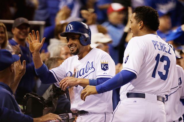 Royals celebrate during 2014 World Series