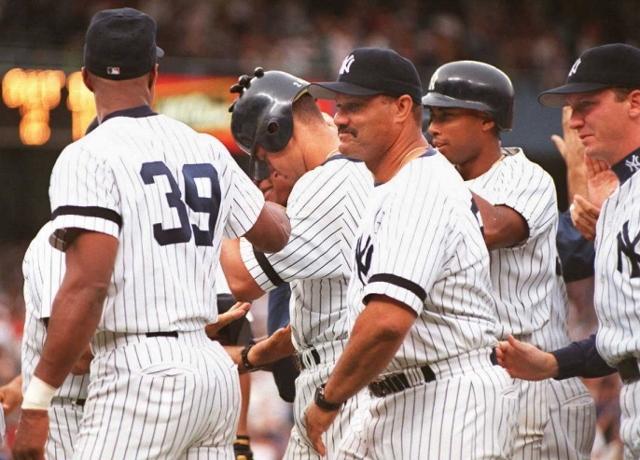 New York Yankees players including Darryl Strawber