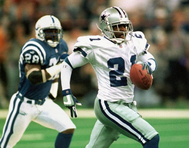 Deion Sanders runs with the ball for the Cowboys