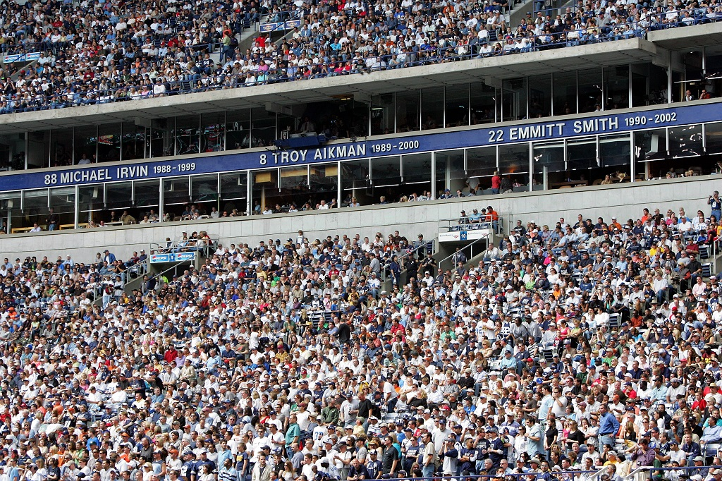 The ring of honor displays the names of the Dallas Cowboys' Michael Irvin, Troy Aikman, and Emmitt Smith at Texas Stadium.