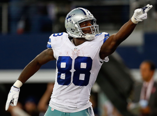 Dez Bryant celebrates a first down against the New York Giants