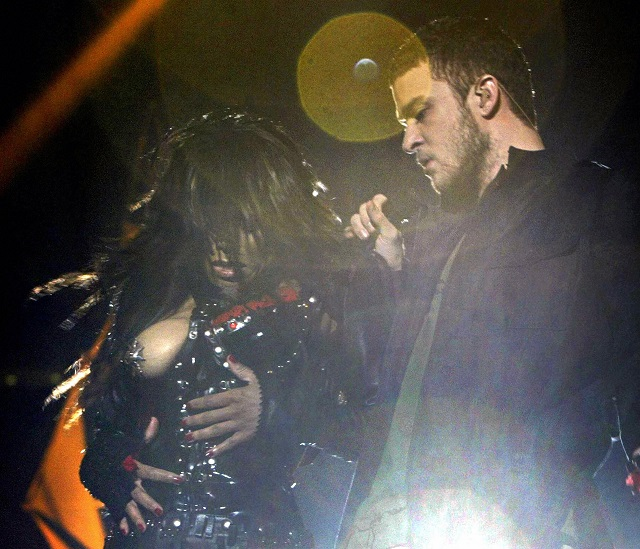 Janet Jackson and Justin Timberlake perform their infamous Super Bowl halftime show.