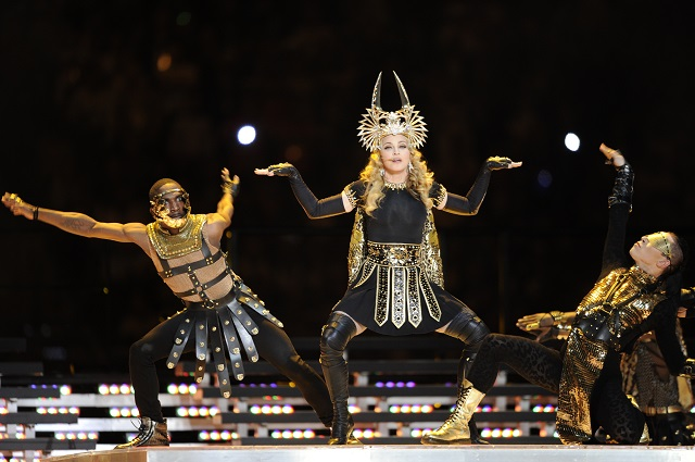 Madonna performs during the Super Bowl Halftime Show.