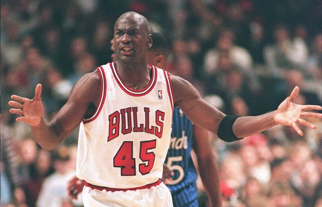 Michael Jordan, reacts after returning from his brief retirement, in 1995.
