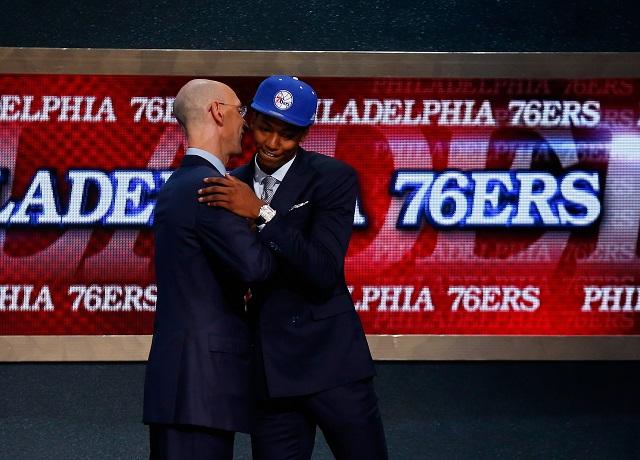 Elfrid Payton and Adam Silver at the 2014 NBA Draft