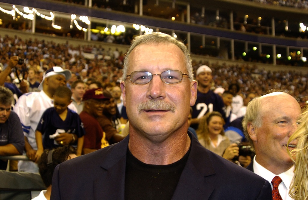 Randy White stands on the sidelines during a Monday Night Football game.