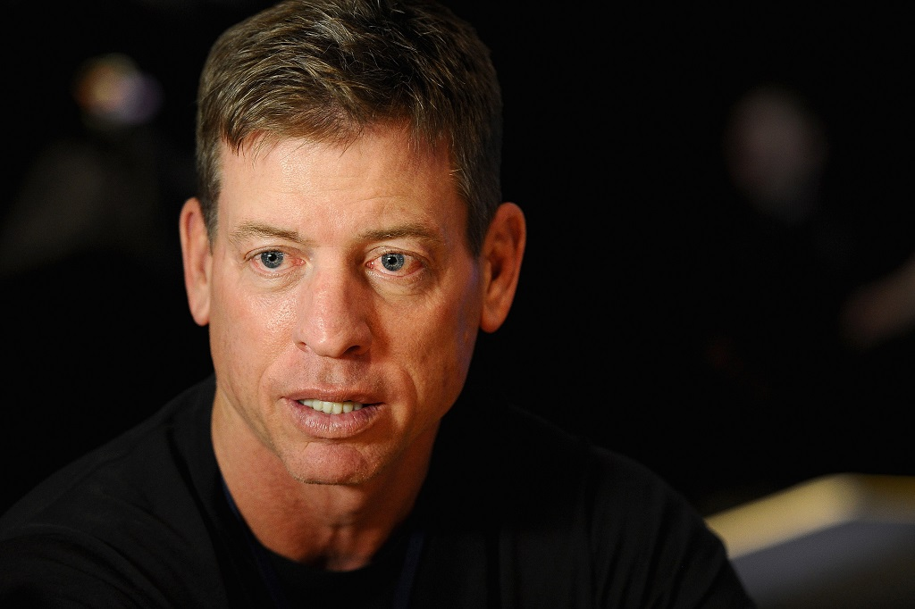 Troy Aikman answers questions from the press during a FOX Sports media event.