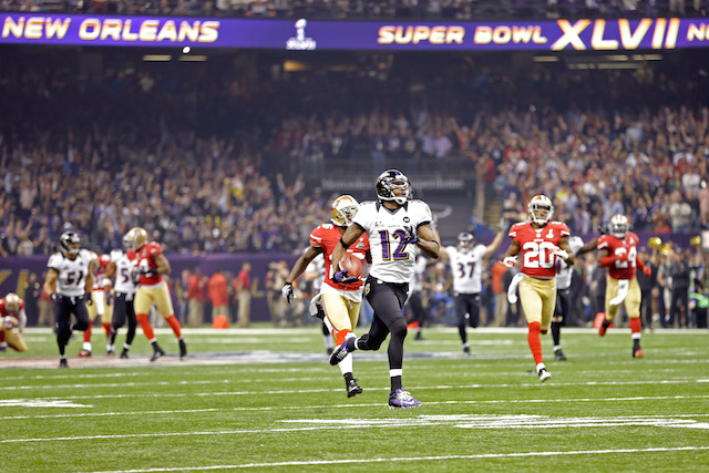 Jacoby Jones returns a kick 109 yards.