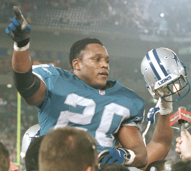 Barry Sanders being carried off the field