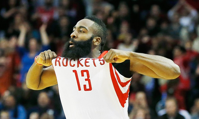 James Harden celebrates against the 76ers