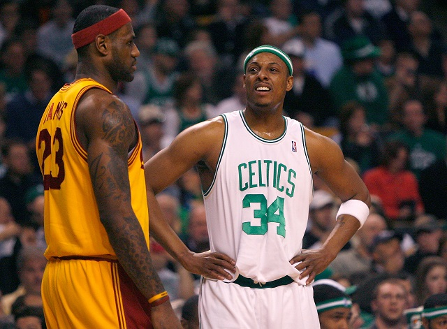 The Celtics look scared as LeBron James walks by.
