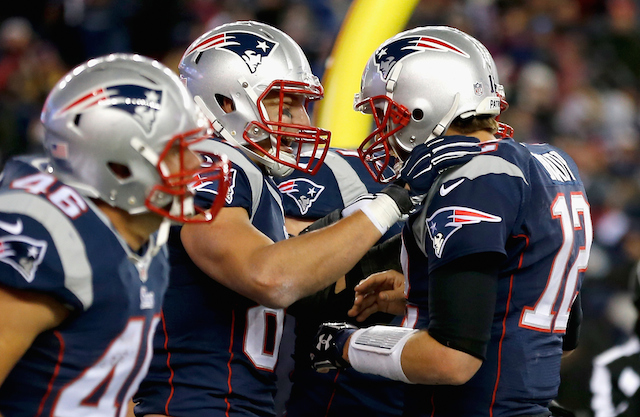New England Patriots celebrate a touchdown