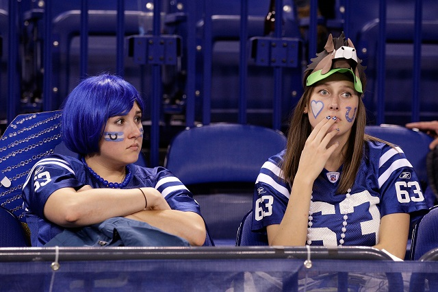 Indianapolis Colts fans looking upset