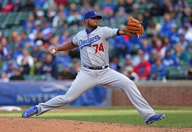 Kenley Jansen of the Los Angeles Dodgers pitches in the ninth inning against the Chicago Cubs on his way to his 43rd save of the season