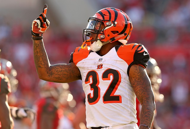 TAMPA, FL - NOVEMBER 30:  Jeremy Hill #32 of the Cincinnati Bengals reacts to a play during a game against the Tampa Bay Buccaneers  at Raymond James Stadium on November 30, 2014 in Tampa, Florida.  (Photo by Mike Ehrmann/Getty Images)