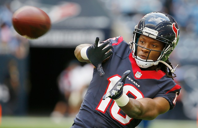 HOUSTON, TX - NOVEMBER 30: DeAndre Hopkins #10 of the Houston Texans in action on the field prior to the start of their game against the Tennessee Titans at NRG Stadium on November 30, 2014 in Houston, Texas.
