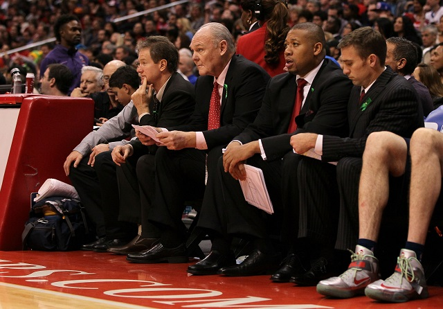 George Karl calmly watches from the bench.