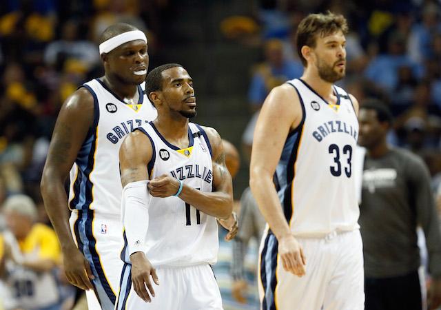 The Memphis Grizzlies walk across the court.