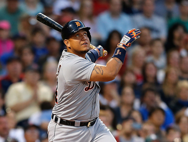 BOSTON, MA - MAY 17: Miguel Cabrera #24 of the Detroit Tigers watches the flight of his home run against the Boston Red Sox in the third inning at Fenway Park on May 17, 2014 in Boston, Massachusetts. (Photo by Jim Rogash/Getty Images)