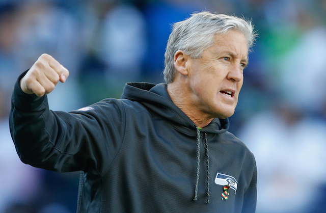 Pete Carroll prior to a game against the San Francisco 49ers