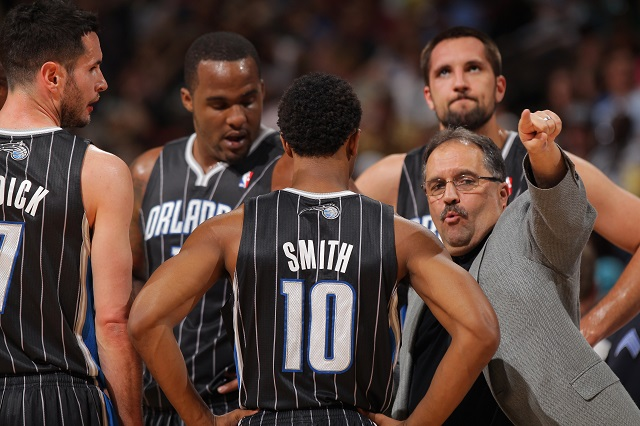 DENVER, CO - APRIL 22: Head coach Stan Van Gundy leads the Orlando Magic against the Denver Nuggets at Pepsi Center on April 22, 2012 in Denver, Colorado. NOTE TO USER: User expressly acknowledges and agrees that, by downloading and or using this photograph, User is consenting to the terms and conditions of the Getty Images License Agreement. (Photo by Doug Pensinger/Getty Images)