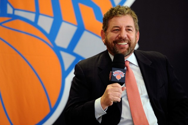 James Dolan speaks to the media during a press conference.