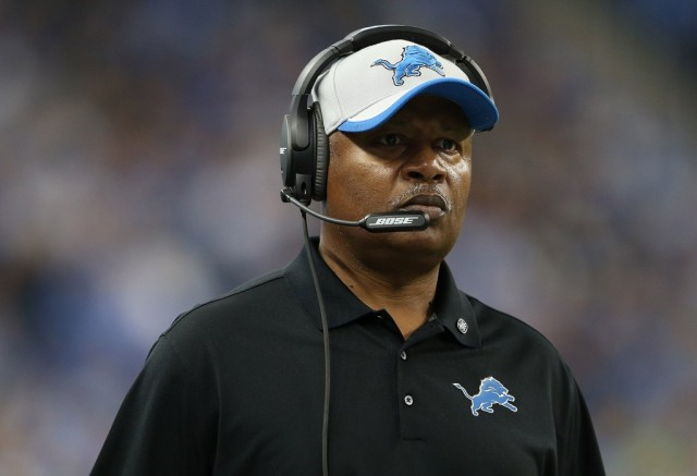 Jim Caldwell looks on during a game against the Saints
