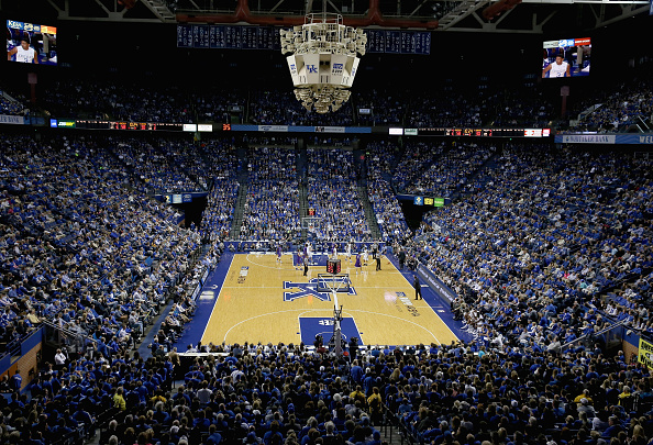 Rupp Arena is decked out in blue for a basketball game.