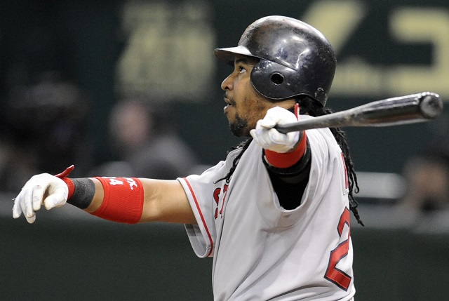 Manny Ramirez watches his hit as he follows through.