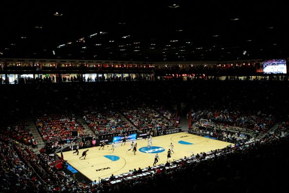 "A view of New Mexico's ""The Pit"" basketball court."