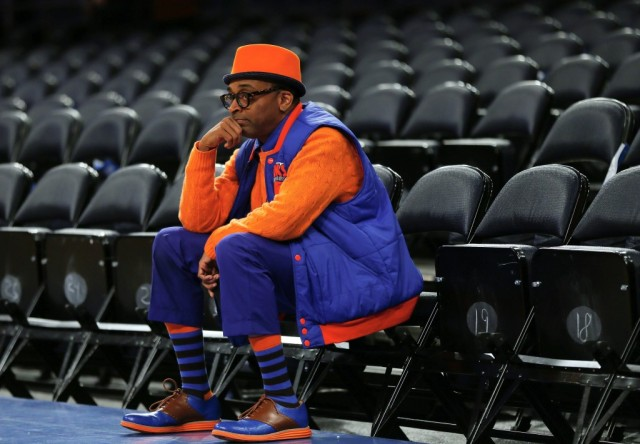 NEW YORK, NY - APRIL 20: Director Spike Lee sits in his seat prior to the game between the Boston Celtics and the New York Knicks during Game One of the Eastern Conference Quarterfinals of the 2013 NBA Playoffs on April 20, 2013 at Madison Square Garden in New York City. NOTE TO USER: User expressly acknowledges and agrees that, by downloading and/or using this photograph, user is consenting to the terms and conditions of the Getty Images License Agreement. (Photo by Elsa/Getty Images)