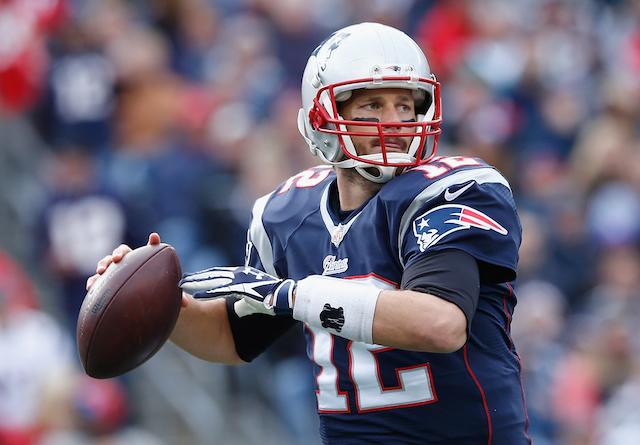 Quarterback Tom Brady looks for his target.